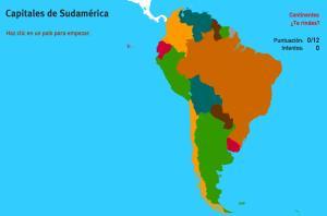 Capitales de Sudamérica. Juegos de Geografía