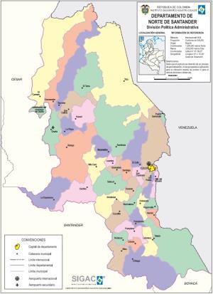 Mapa político de Norte de Santander (Colombia). IGAC