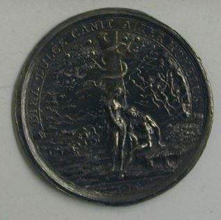 Prueba del reverso de una medalla de John Milton