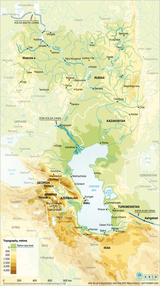 Mapa físico del Mar Caspio. GRID-Arendal
