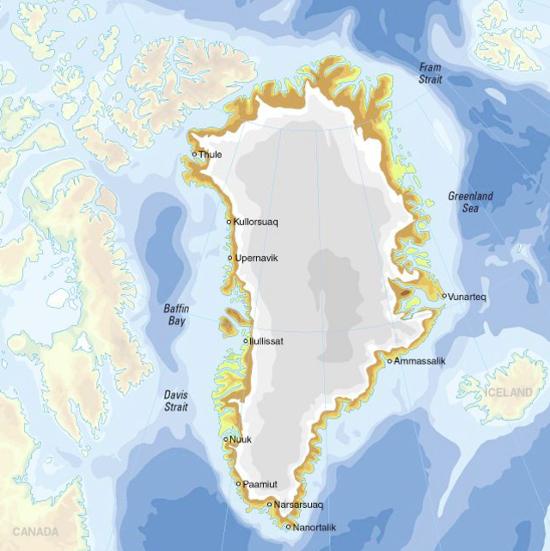 Mapa físico de Groenlandia. GRID-Arendal