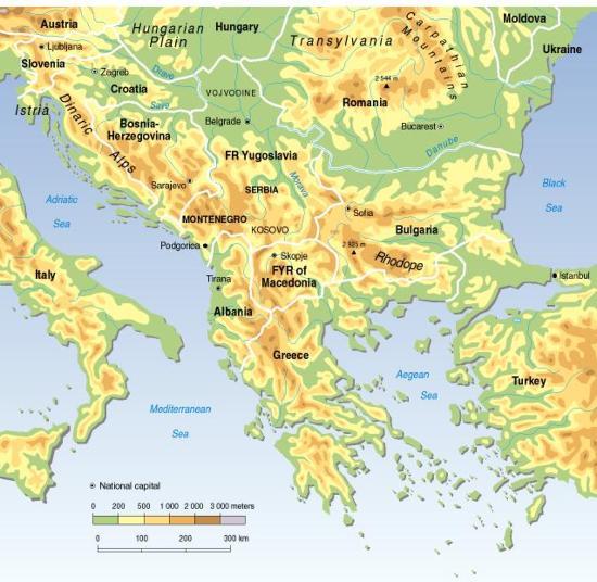 Mapa físico de la Península de los Balcanes. GRID-Arendal