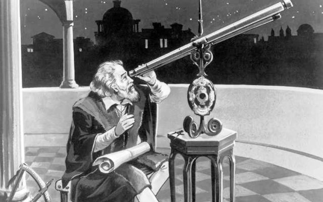 Recreación en dibujo de Galileo Galilei y su telescopio