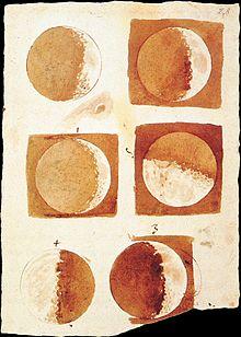Ilustración elaborada por Galileo sobre las fases lunares
