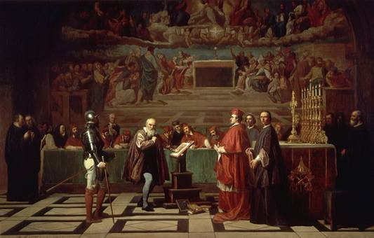 Galileo ante el Santo Oficio, pintura del siglo XIX, por Joseph-Nicolas Robert-Fleury