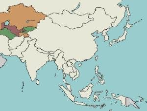 Countries of Central Asia. Lizard Point