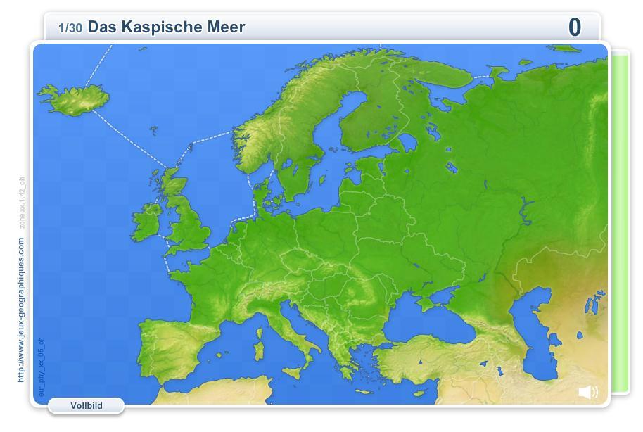 Physische Geographie Europas. Geographie Spiele