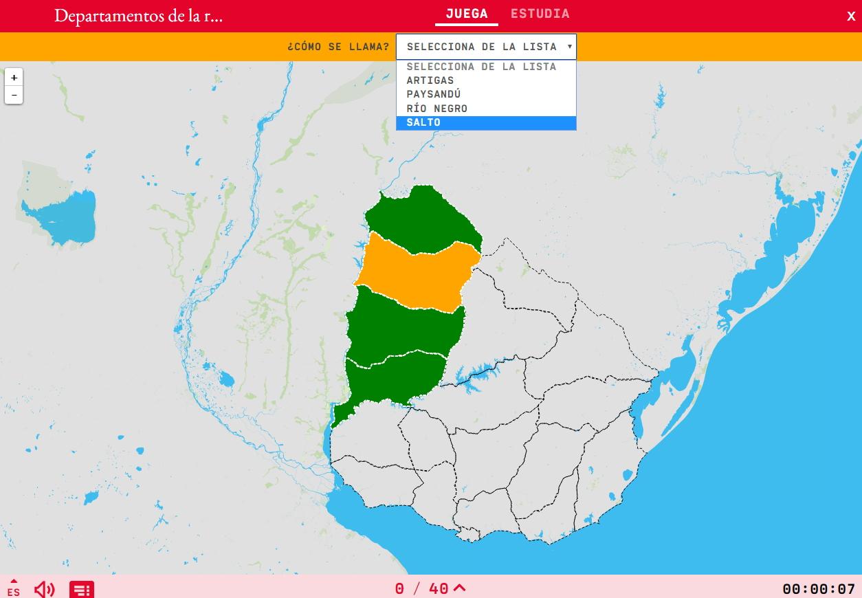 Dipartimenti della regione nord-ovest dell'Uruguay