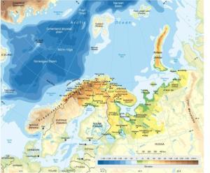 Mapa de relieve de la región de Barents. GRID-Arendal