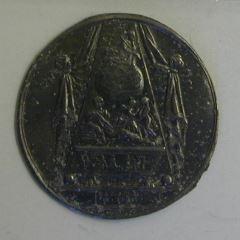 Prueba de plomo del reverso de la medalla conmemorativa de la muerte de Isaac Newton