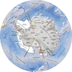 Mapa de relieve de la Antártida. Grid-Arendal