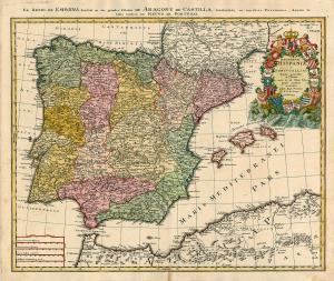 Mapa de la división de España en Reinos y territorios en 1728 (Johann Baptiste Homann)