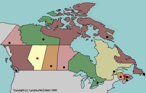 Capitals of Canada provinces. Lizard Point