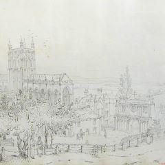Vista de la Abadía de Malvern (Inglaterra)