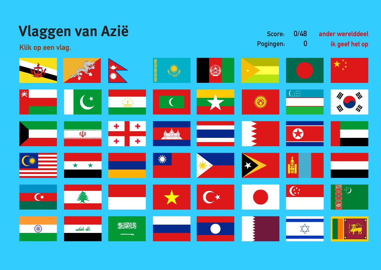 Vlaggen van Azië. Topo Wereld