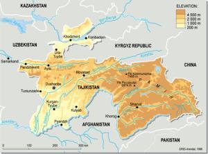 Mapa físico de la República de Tayikistán. GRID-Arendal