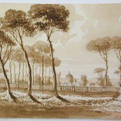 San Pedro desde los jardines de la Villa Borghese, Roma