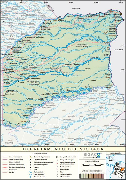 Mapa físico de Vichada (Colombia). IGAC