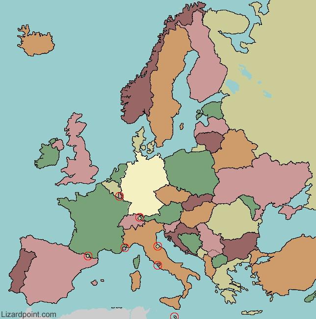 European flags. Lizard Point