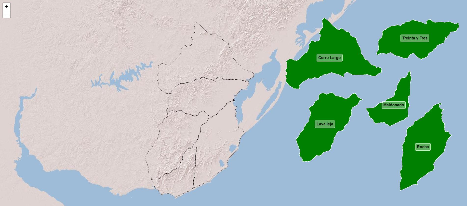 Dipartimenti della regione orientale dell'Uruguay