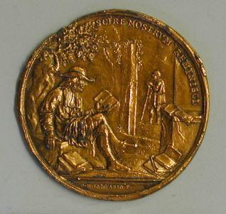 Prueba de reverso de la medalla en honor a Antonio Magliabecchi