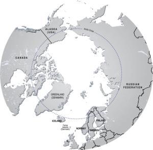 Mapa político de la región del Ártico. GRID-Arendal