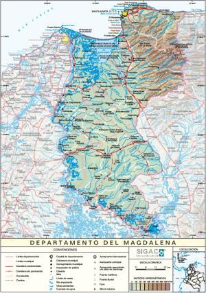 Mapa físico de Magdalena (Colombia). IGAC
