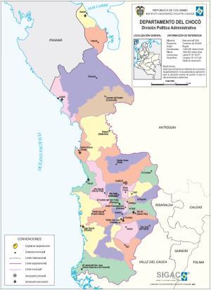 Mapa político de Chocó (Colombia). IGAC