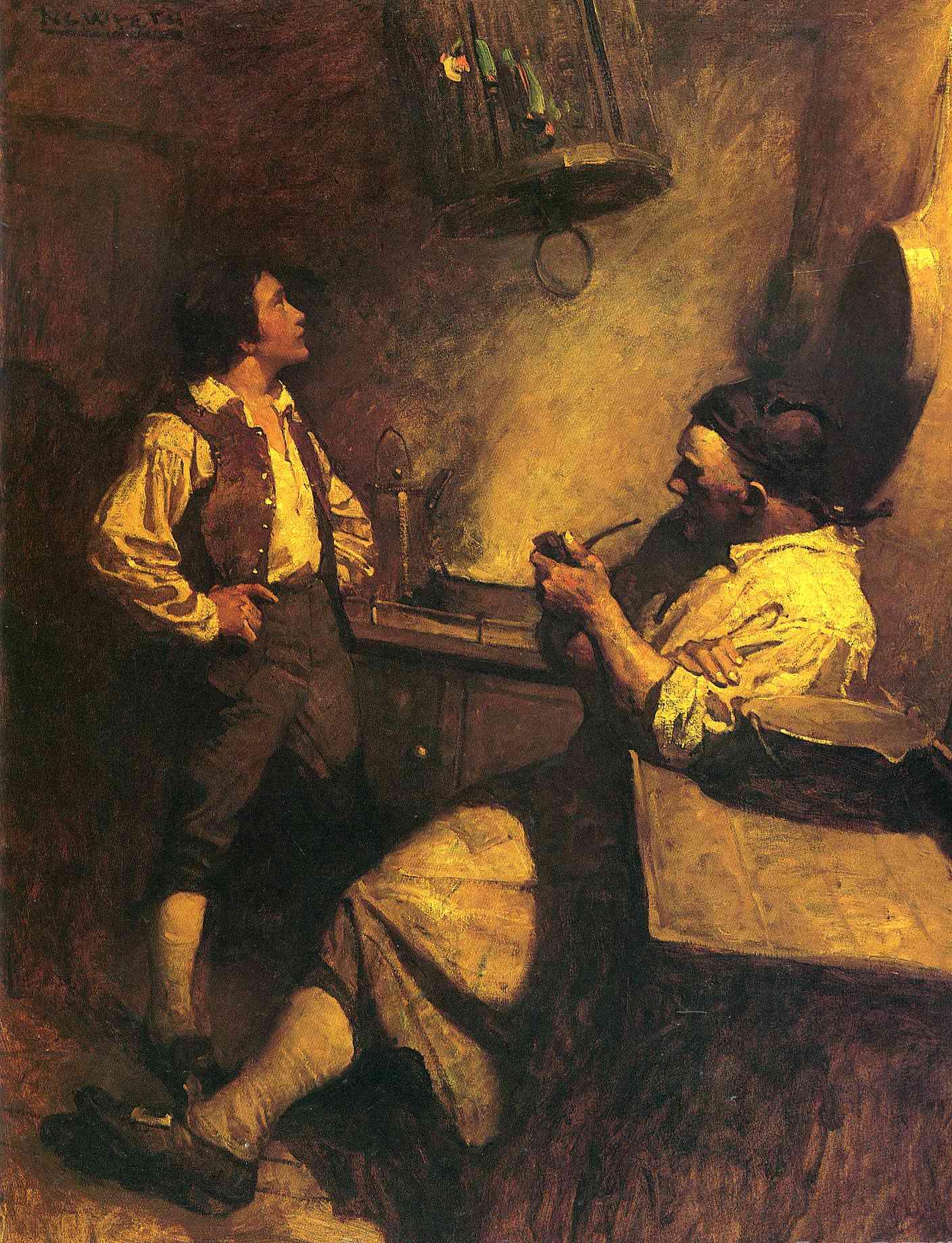Jim Hawkins, Long John Silver y su loro. Cuadro de N. C. Wyeth