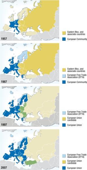 Mapa político de la expansión de la Unión Europea. GRID-Arendal