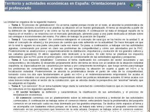 Territorio y actividades económicas en España: Elementos comunes de la unidad