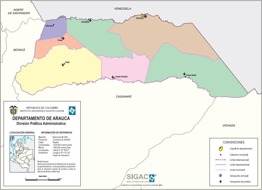 Mapa político de Arauca (Colombia). IGAC