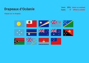 Drapeaux d'Océanie. Jeux de Géographie