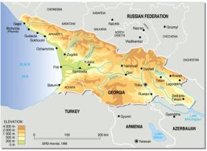 Mapa físico de Georgia. Grid-Arendal