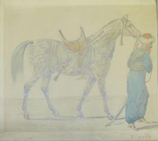 Árabe con caballo