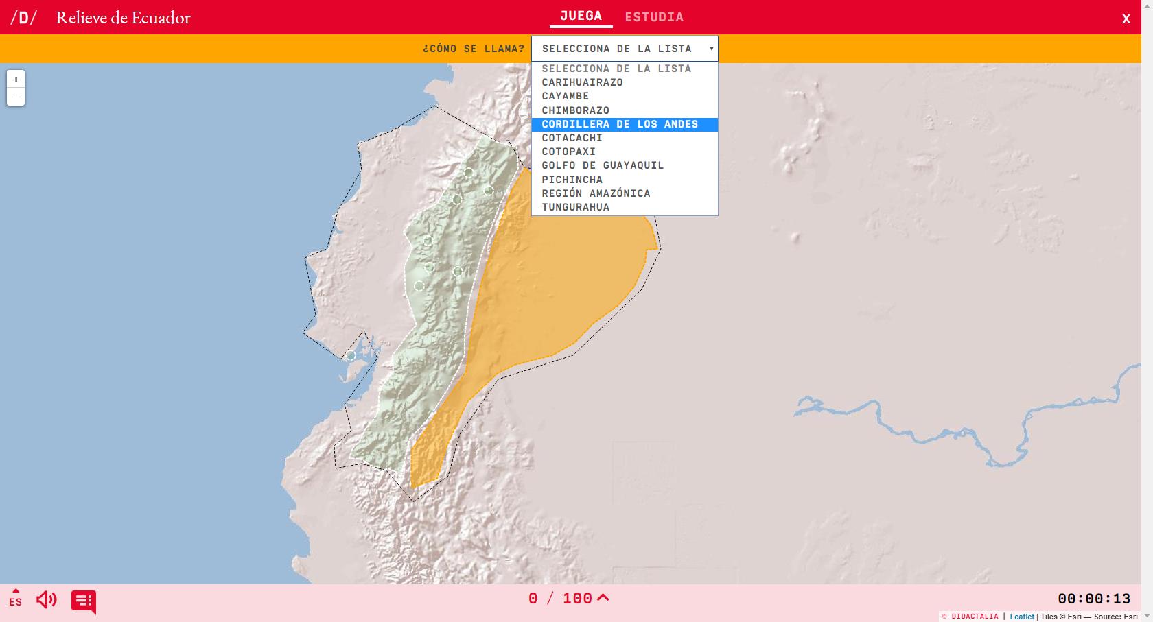 Relief of  Ecuador