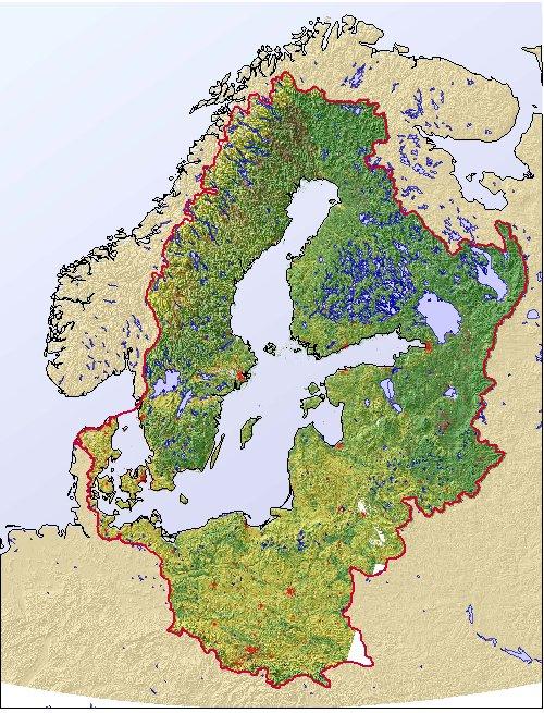 Mapa de relieve de la región del mar Báltico. GRID-Arendal