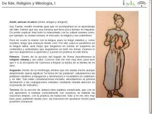 El origen del Latín y sus características: De fide. Religión y Mitología, I