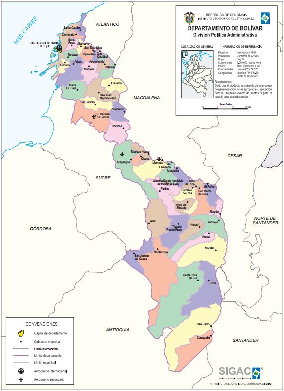 Mapa político de Bolívar (Colombia). IGAC