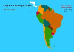 Capitales d'Amérique du Sud. Jeux de Géographie