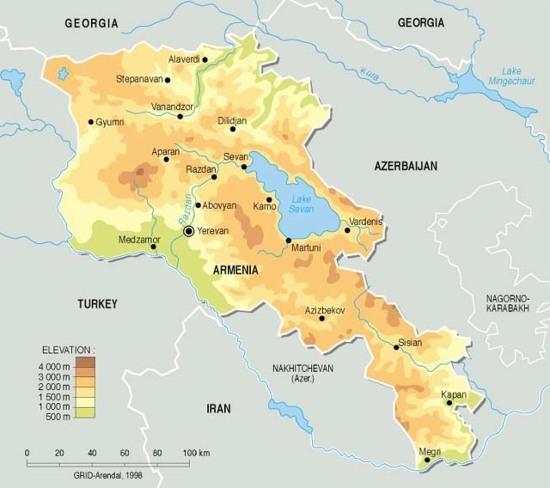 Mapa físico de Armenia. GRID-Arendal