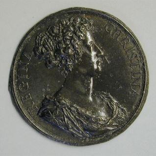 Prueba de anverso de una medalla de la reina Cristina de Suecia