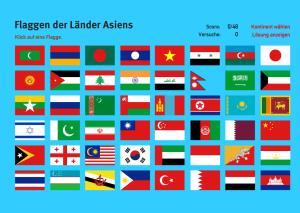 Flaggen der Länder Asiens. Welt-Quiz Geographie
