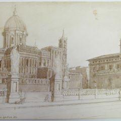 Vista de la fachada lateral de la catedral de Palermo (Italia)