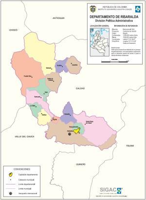 Mapa político de Risaralda (Colombia). IGAC