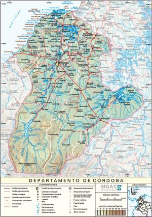 Mapa físico de Córdoba (Colombia). IGAC