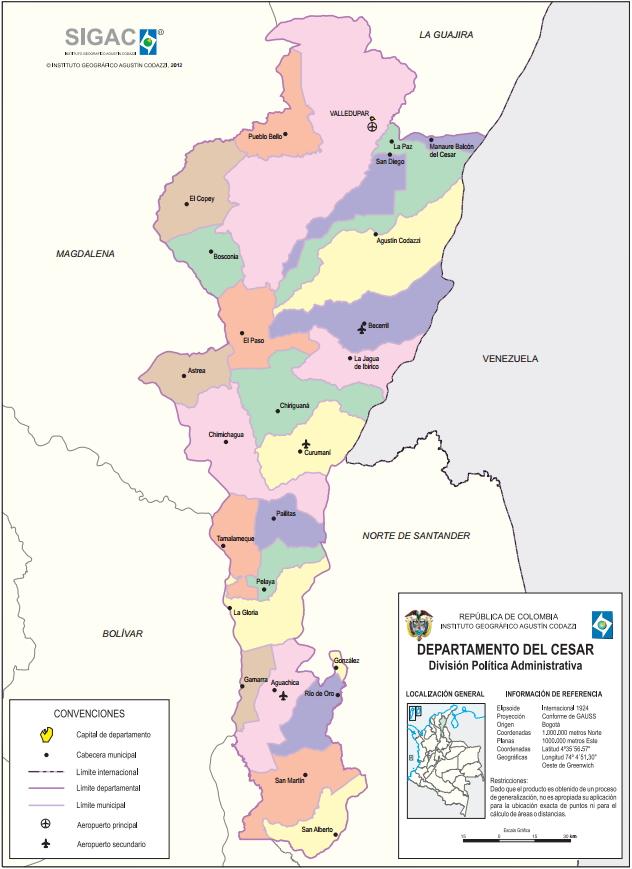 Mapa político de Cesar (Colombia). IGAC