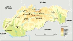Mapa físico de Eslovaquia. GRID-Arendal