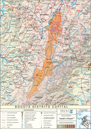 Mapa físico de Bogotá (Colombia). IGAC