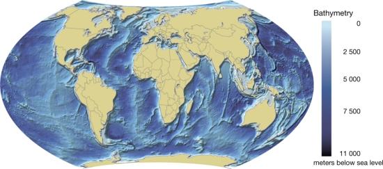 Mapa físico de los océanos del mundo. GRID-Arendal